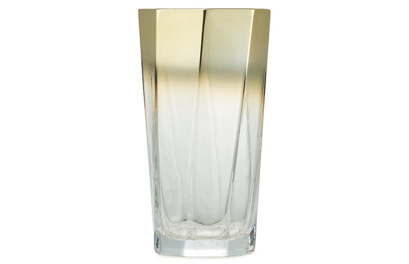 S/4 Helix Tumblers, Clear/Gold