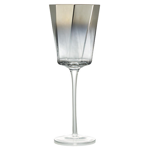 S/4 Helix Goblets, Clear/Silver