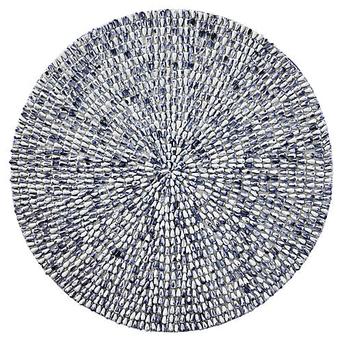 S/4 Jackson Place Mats, White/Blue