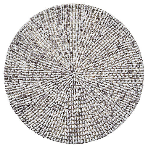 S/4 Jackson Place Mats, White/Gray