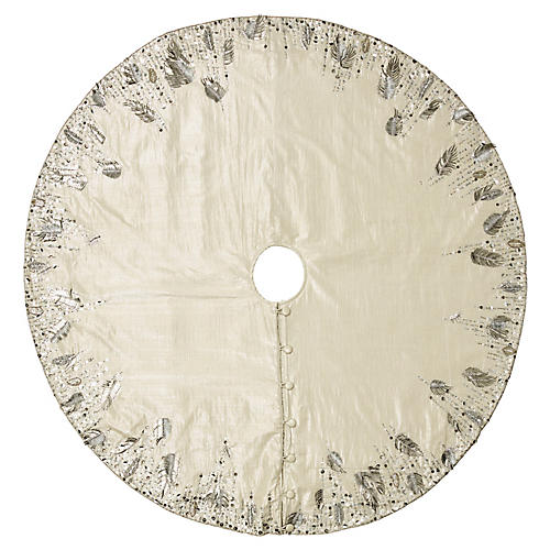 "64"" Quill Tree Skirt, Silver/Crystal"