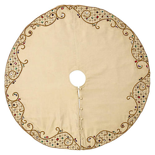 "64"" Royal Gem Tree Skirt, Gold/Multi"