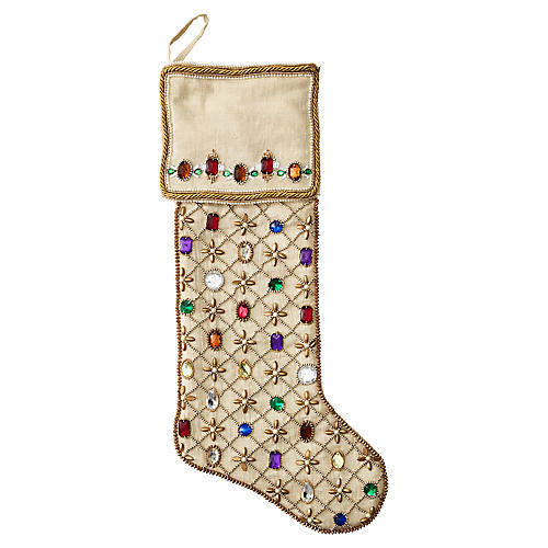 "20"" Royal Gem Stocking, Gold/Multi"