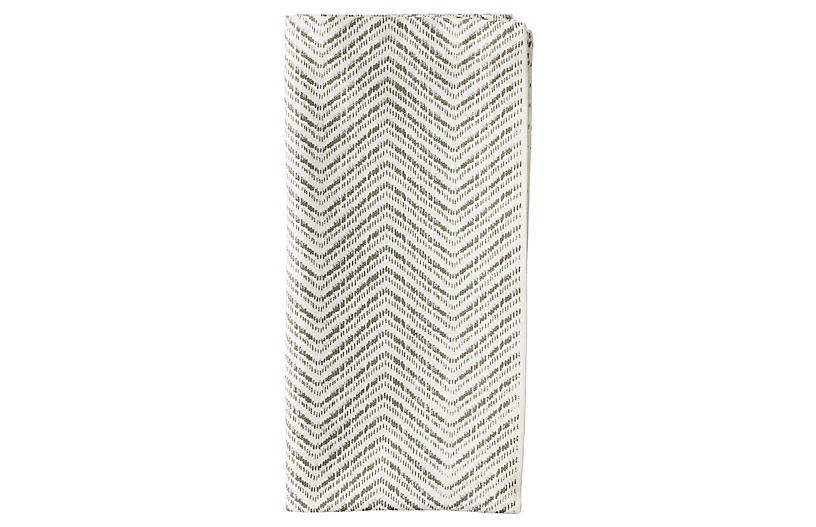 S/4 Drift Dinner Napkins, White/Gray