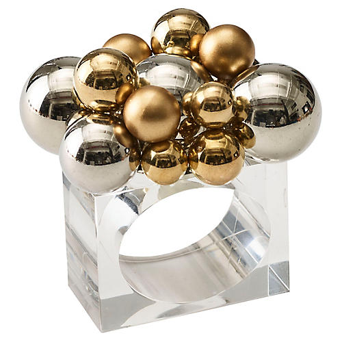 S/4 Bauble Napkin Rings, Gold/Silver