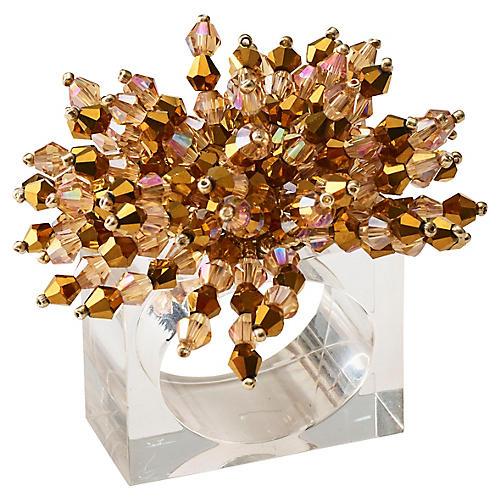 S/4 Brilliant Napkin Rings, Gold