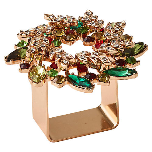 S/4 Gem Wreath Napkin Rings, Gold/Multi