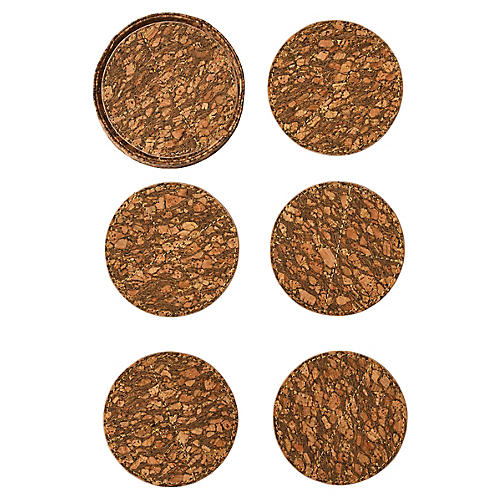 S/6 Bark Coasters, Natural