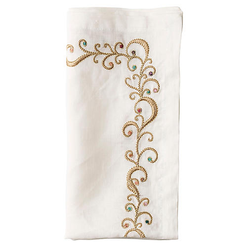 S/4 Ritz Dinner Napkins, White/Multi