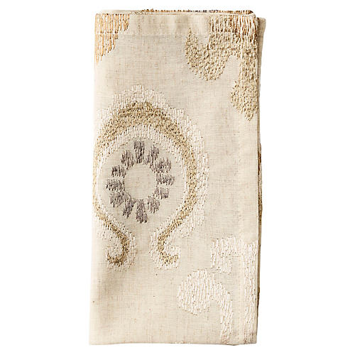 S/4 Marrakech Dinner Napkins, Natural/Ivory