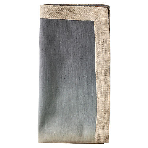 S/4 Dip-Dye Dinner Napkins, Beige/Gray