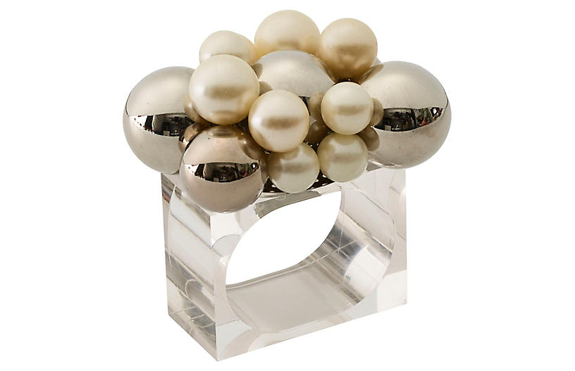 S/4 Bauble Napkin Rings, Pearl/Silver