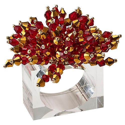 S/4 Brilliant Napkin Rings, Red