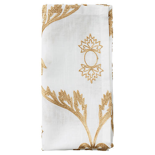 S/4 Wisteria Napkins, White/Natural
