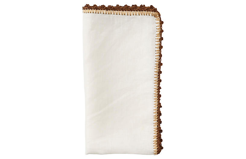 S/4 Knotted Edge Napkins, White/Brown