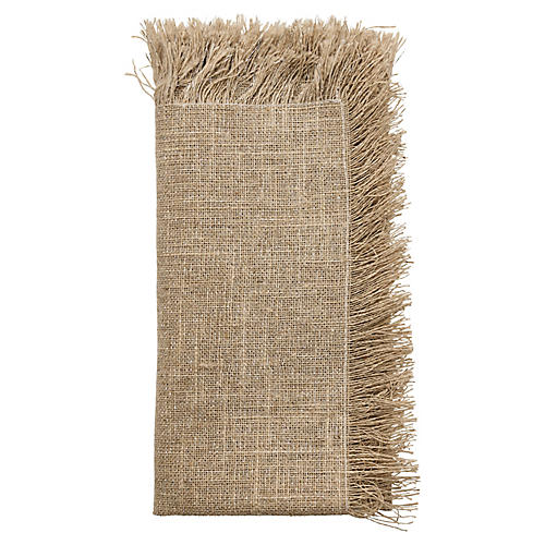 S/4 Fringe Napkins, Natural