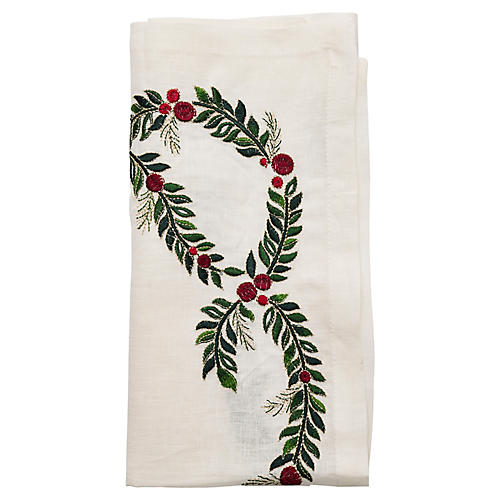 S/4 Garland Napkins, White/Multi