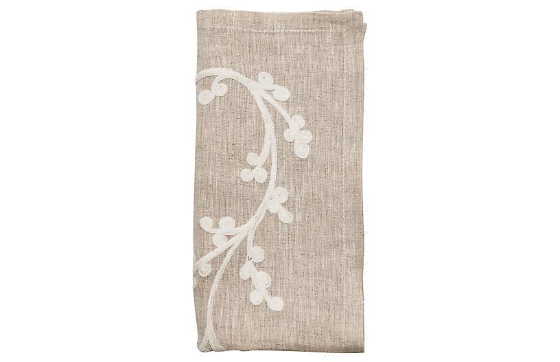 S/4 Sakura Napkin, Natural/Ivory