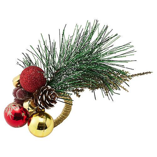 S/4 Christmas Sprig Napkin Rings, Red/Multi