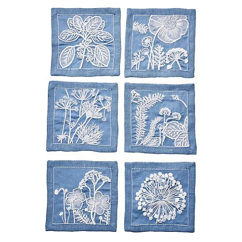 S/6 Sunprint Napkins, Blue/White