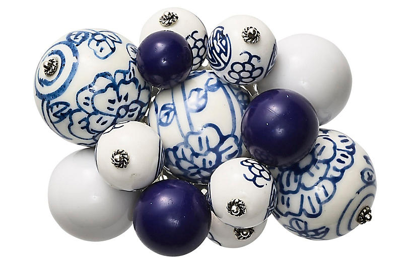 S/4 Cloud Napkin Rings, White/Blue