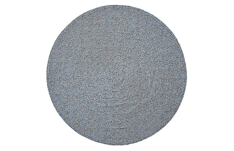 S/4 Confetti Place Mats, Silver/Periwinkle