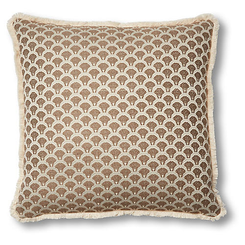 Ruby 19x19 Pillow, Gold Scallop