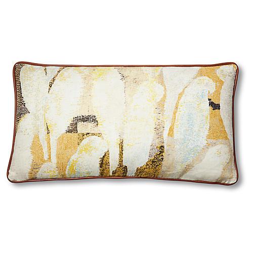 Betsy 12x23 Lumbar Pillow, Yellow/Ivory Linen