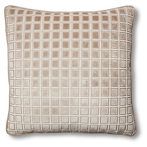 Phoebe 19x19 Pillow, Beige Velvet
