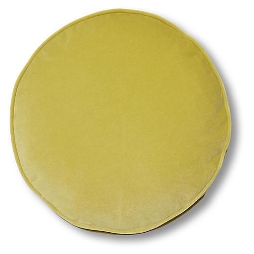 Claire 16x16 Disc Pillow, Chartreuse Velvet