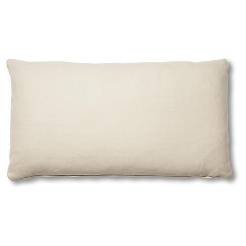 Ada Long Lumbar Pillow, Khaki Linen