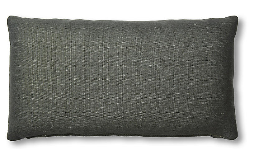 Ada Long Lumbar Pillow, Charcoal Linen