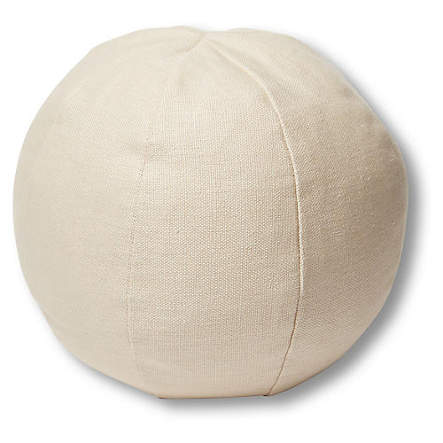 Emma 11x11 Ball Pillow, Khaki Linen