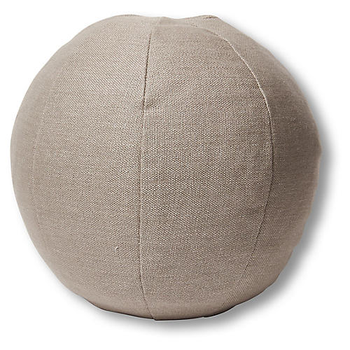 Emma 11x11 Ball Pillow, Stone Linen