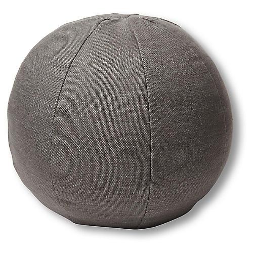 Emma 11x11 Ball Pillow, Charcoal Linen