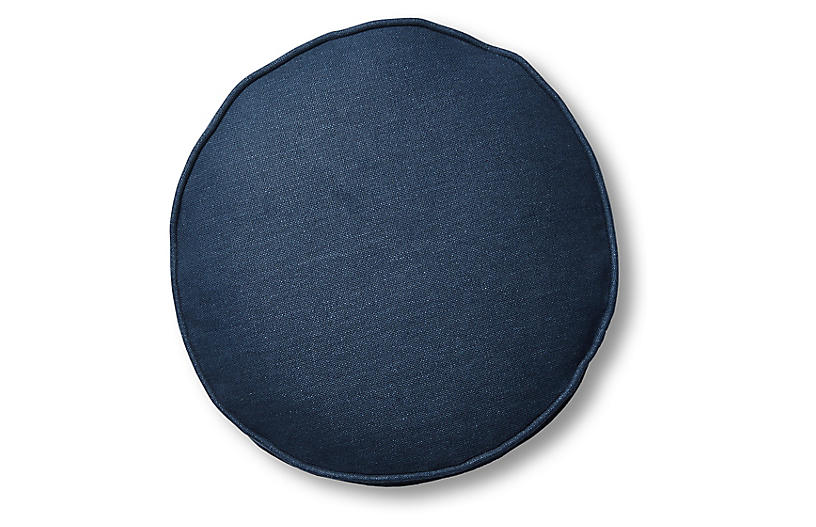 Claire 16x16 Disc Pillow, Navy Linen