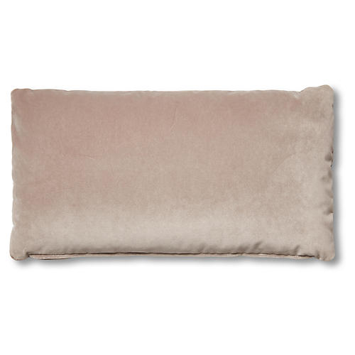 Ada Long Lumbar Pillow, Pebble Velvet