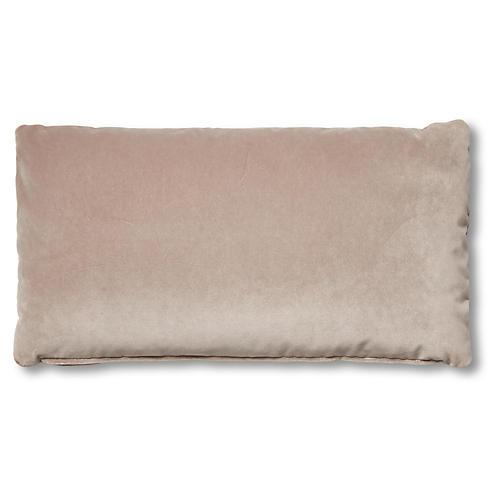 Ada Long Lumbar Pillow, Pebble Velvet