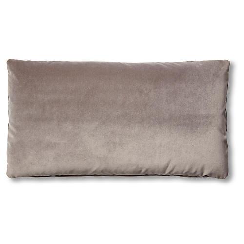 Ada Long Lumbar Pillow, Light Gray Velvet