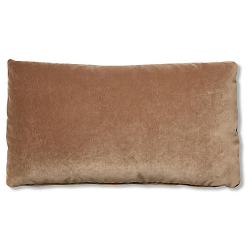Ada Long Lumbar Pillow, Toffee Velvet