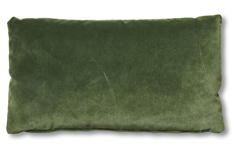 Ada Long Lumbar Pillow, Emerald Velvet