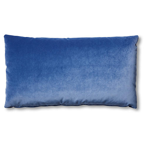Ada Long Lumbar Pillow, Cobalt Velvet