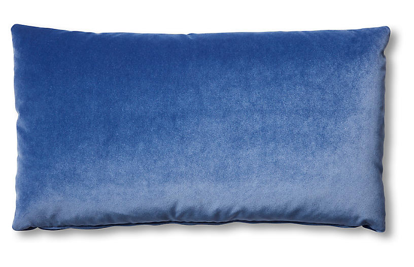 Ada Long Lumbar Pillow, Cobalt Velvet