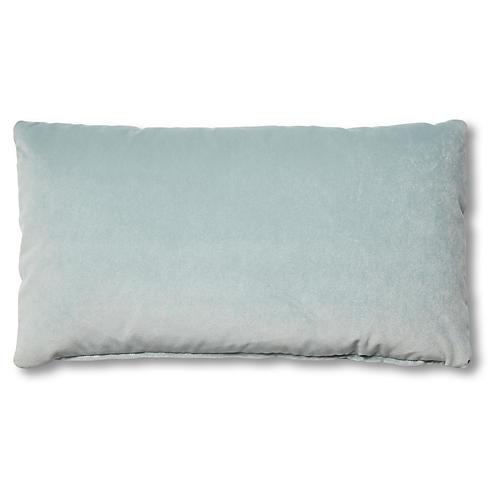 Ada Long Lumbar Pillow, Sky Blue Velvet