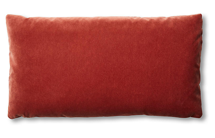 Ada Long Lumbar Pillow, Rust Velvet