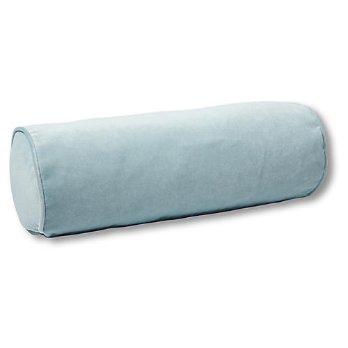 Anne Bolster Pillow, Sky Blue Velvet