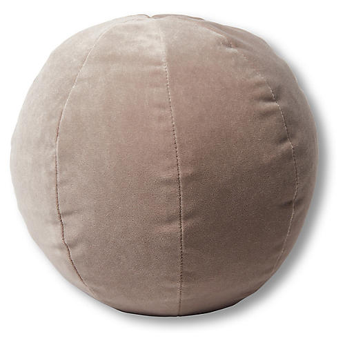 Emma 11x11 Ball Pillow, Pebble Velvet