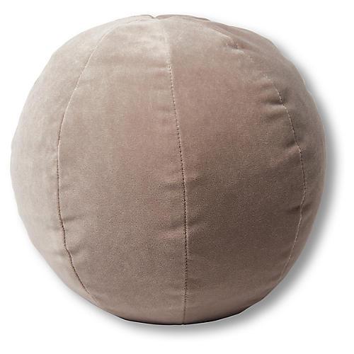 Emma 11x11 Ball Pillow, Pebble Velvet