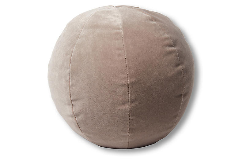 Emma 11x11 Ball Pillow Pebble Velvet One Kings Lane