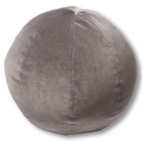 Emma 11x11 Ball Pillow, Light Gray Velvet